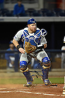 Indiana State Sycamores catcher Kaden Moore (12) looks to first during a game against the Vanderbilt Commodores on February 20, 2015 at Charlotte Sports Park in Port Charlotte, Florida.  Vanderbilt defeated Indiana State 3-2.  (Mike Janes/Four Seam Images)