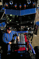 truck driver with new engine