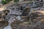 Ruins from the 1st Century A.D. of a Jewish building complex which included a mikveh or Jewish ritual bath, adjacent to the Church of Saint Peter in Gallicantu on Mount Zion in Jerusalem.