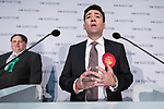 © Joel Goodman - 07973 332324 . 05/05/2017 . Manchester , UK . ANDY BURNHAM speaks on the stage at the declaration . The count for council and Metro Mayor elections in Greater Manchester at the Manchester Central Convention Centre . Photo credit : Joel Goodman
