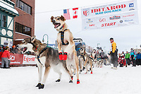 during the ceremonial start of the 2018 Iditarod in Anchorage, Alaska on Saturday, March 1 2018.<br /> <br /> Photo by Jeff Schultz/SchultzPhoto.com  (C) 2018  ALL RIGHTS RESERVED