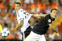 Valencia's Rodrigo (l) and AS Monaco FC's Ricardo Carvalho during Champions League 2015/2016 Play-Offs 1st leg match. August  19,2015. (ALTERPHOTOS/Acero)