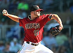 Arizona Diamondbacks&rsquo; RJ Hiverly pitches against the Los Angeles Dodgers in a spring training game in Scottsdale, Ariz., on Friday, March 18, 2016. <br />Photo by Cathleen Allison