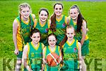 Gneeveguilla NS team that played Scartaglen in the Kerry Primary schools basketball final in Killarney on Wednesday front row l-r: Ciara Hickey, Chloe McCarthy, Roisin Brosnan. Back row: Roisin Collins, Emma McGillicudy, Tara O'Leary, Caoimhe Guerin