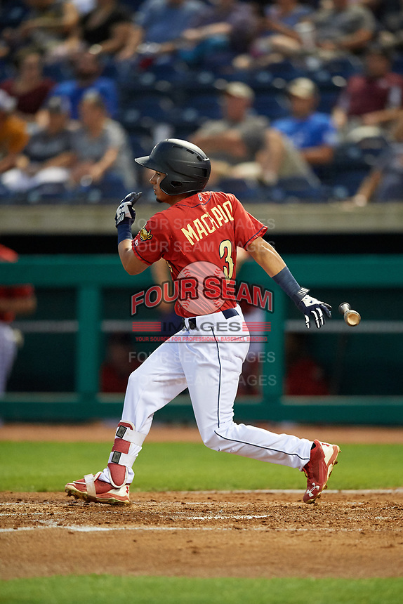 State College Spikes left fielder Jonatan Machado (3) follows through on a swing during a game against the West Virginia Black Bears on August 30, 2018 at Medlar Field at Lubrano Park in State College, Pennsylvania.  West Virginia defeated State College 5-3.  (Mike Janes/Four Seam Images)