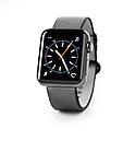 Apple Watch series 2 smartwatch with analog clock dial on its display isolated on white background