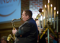 NWA Democrat-Gazette/BEN GOFF @NWABENGOFF<br /> Matt Schatz plays saxophone in a jazz quintet on Sunday Feb. 7, 2016 during the Jazz Communion service at First Presbyterian Church in Bentonville.