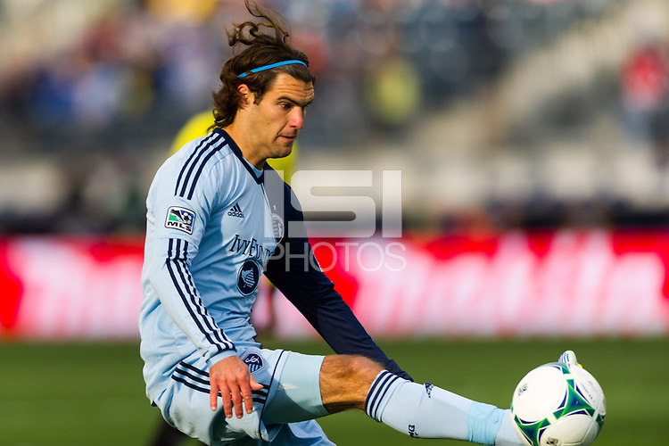 Graham Zusi (8) of Sporting Kansas City during the first half against the Philadelphia Union during a Major League Soccer (MLS) match at PPL Park in Chester, PA, on March 2, 2013.