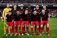 14th February 2020; Mestalla, Valencia, Spain; La Liga Football,Valencia versus Atletico Madrid; Atletico de Madrid squad lines up prior to the game