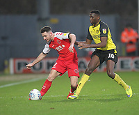 Fleetwood Town's Lewis Coyle in action with Burton Albion's Lucas Atkins<br /> <br /> Photographer Mick Walker/CameraSport<br /> <br /> The EFL Sky Bet League One - Burton Albion v Fleetwood Town - Saturday 11th January 2020 - Pirelli Stadium - Burton upon Trent<br /> <br /> World Copyright © 2020 CameraSport. All rights reserved. 43 Linden Ave. Countesthorpe. Leicester. England. LE8 5PG - Tel: +44 (0) 116 277 4147 - admin@camerasport.com - www.camerasport.com