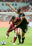 Liverpool FC defender Dejan Lovren (L) fights for the ball with Leicester City FC defender Harry Maguire during the Premier League Asia Trophy match between Liverpool FC and Leicester City FC at Hong Kong Stadium on 22 July 2017, in Hong Kong, China. Photo by Weixiang Lim / Power Sport Images