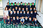 Class teacher Noreen Burke with her junior infants on their first day of school in Faha NS on Wednesday