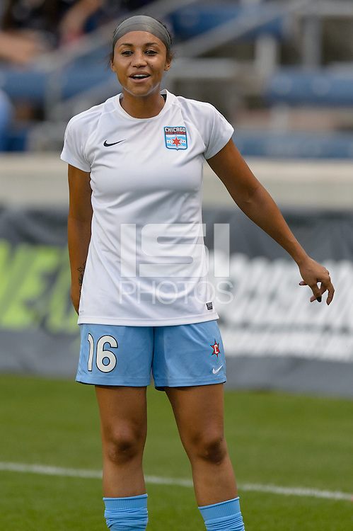 Chicago, IL - Wednesday Sept. 07, 2016: Samantha Johnson prior to a regular season National Women's Soccer League (NWSL) match between the Chicago Red Stars and FC Kansas City at Toyota Park.