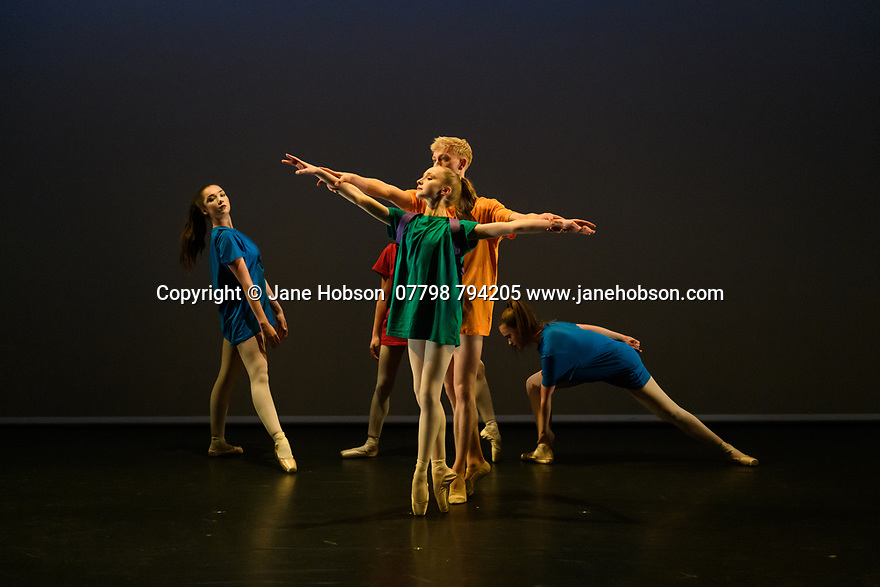 . Elmhurst Ballet Company, the graduate company from Elmhurst Ballet School, perform in the dress rehearsal of 'Synergy' at the Lilian Baylis Studio, Sadler's Wells. The piece shown is: You Never Know, choreographed by Jakob Myers. The dancers are: Jennifer Beattie, Maisie Butler, Joshua Dart, Ruben Flynn-Kann, Lucy Elizabeth Fox, William Mitchell, Jakob Myers, Emily Ormsby, Grace Owen, Olivia Parham, Mia Stapleton.