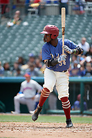 Frisco RoughRiders Michael De Leon (54) bats during a Texas League game against the Midland RockHounds on May 21, 2019 at Dr Pepper Ballpark in Frisco, Texas.  (Mike Augustin/Four Seam Images)