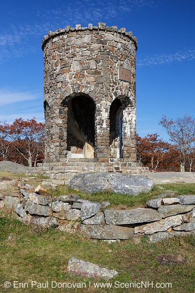 Mt. Battie Tower on the summit of Mt. Battie in Camden Hills State Park in Camden, Maine USA during the autumn months.