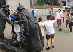 VMI Vincentian Heritage Tour: Street scenes in Paris, including shocker fans posing with Asian tourists on Tuesday, June 21, 2016. (DePaul University/Jamie Moncrief)