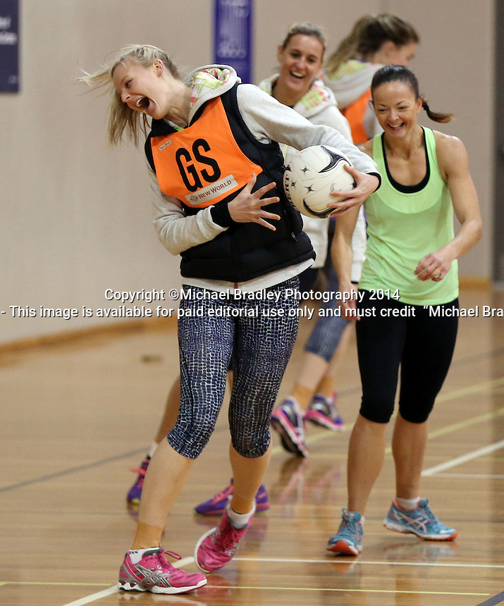03.07.2014 Silver Fern Katrina Grant in action during the Silver Ferns netball training session at the AUT in Auckland. Mandatory Photo Credit ©Michael Bradley.