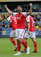 Fleetwood Town's Ched Evans celebrates scoring his side's first goal <br /> <br /> Photographer David Shipman/CameraSport<br /> <br /> The EFL Sky Bet League One - Oxford United v Fleetwood Town - Saturday August 11th 2018 - Kassam Stadium - Oxford<br /> <br /> World Copyright &copy; 2018 CameraSport. All rights reserved. 43 Linden Ave. Countesthorpe. Leicester. England. LE8 5PG - Tel: +44 (0) 116 277 4147 - admin@camerasport.com - www.camerasport.com