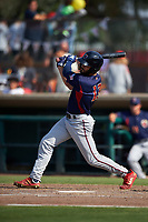 Lancaster JetHawks right fielder Willie Abreu (13) follows through on his swing during a California League game against the Inland Empire 66ers at San Manuel Stadium on May 20, 2018 in San Bernardino, California. Inland Empire defeated Lancaster 12-2. (Zachary Lucy/Four Seam Images)
