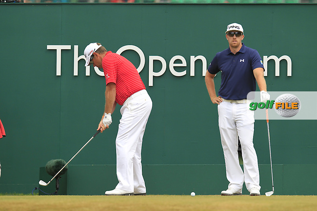 Lee WESTWOOD (ENG) (in red) Hunter MAHAN (USA) during round 4 of  The 142th Open Championship Muirfield, Gullane, East Lothian, Scotland 21/7/2013<br /> Picture Eoin Clarke www.golffile.ie: