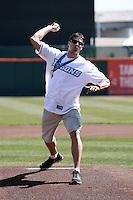 April 14, 2010:  Olympic Gold Medalist Steve Mesler delivers a ceremonial first pitch before the opening home game vs. Pawtucket at Coca-Cola Field in Buffalo, New York.  The Bisons are the Triple-A International League affiliate of the New York Mets.  Photo By Mike Janes/Four Seam Images