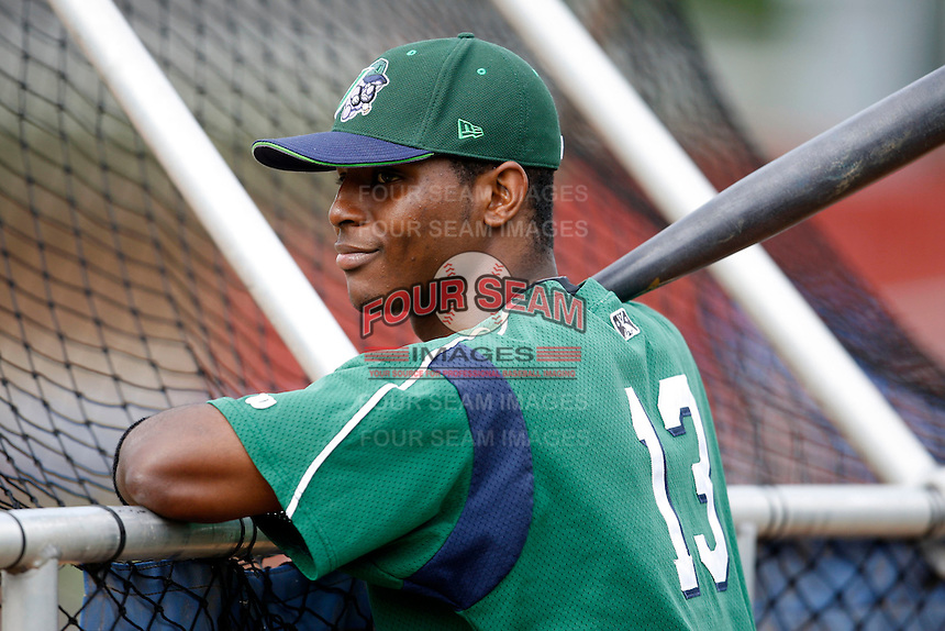 July 3, 2009:  Rand Smith of the Jamestown Jammers during batting practice before a game at Dwyer Stadium in Batavia, NY.  The Jammers are the NY-Penn League Short-Season Class-A affiliate of the Florida Marlins.  Photo by:  Mike Janes/Four Seam Images