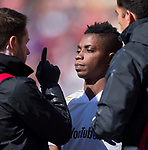 Los Angeles FC forward Latif Blessing (7) is checked out after colliding head to head with a teammate against Real Salt Lake in the first half Saturday, March 10, 2018, during the Major League Soccer game at Rio Tiinto Stadium in Sandy, Utah. LAFC beat RSL 5-1. (© 2018 Douglas C. Pizac)