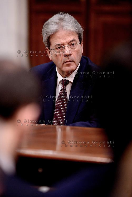 Roma, 27 Febbraio 2017.<br /> Il Presidente del Consiglio Paolo Gentiloni<br /> Presentazione della Relazione annuale sulla politica dell'informazione per la sicurezza.