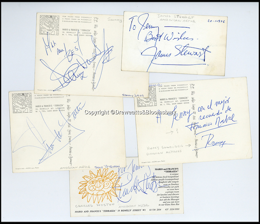 BNPs.co.uk (01202 558833)<br /> Pic: Dreweatts&Bloomsbury/BNPS<br /> <br /> Signatures include Steve McQueen, Charlton Heston and Sammy Davis Jnr. <br /> <br /> An Italian waiter's stunning collection of autographs of diners that reads like a Who's Who of celebrities from the Swinging Sixties has emerged for sale. <br /> <br /> The late waiter, named only as 'Dino', worked at the famous La Terrazza restaurant in London's Soho which became a haunt of the great and the good from the showbusiness world.<br /> <br /> His daughter is now set for a £4,000 tip when the impressive collection sells at auction.