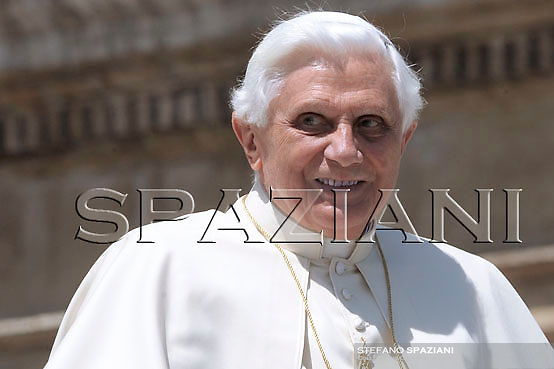 Pope Benedict XVI during his weekly general audience in St. Peter square at the Vatican, Wednesday May  4, 2008