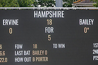 The scoreboard shows that Hampshire are in some trouble at 18 for 5 during Essex CCC vs Hampshire CCC, Specsavers County Championship Division 1 Cricket at The Cloudfm County Ground on 20th May 2017