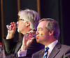 UKIP 2015 Spring Conference<br /> Winter Gardens, Margate, Great Britain <br /> 27th February 2015 <br /> <br /> Nigel Farage watches speech by Harriet Yeo with conference Chairman Steve Crowther in the background.  <br /> <br /> Photograph by Elliott Franks <br /> Image licensed to Elliott Franks Photography Services