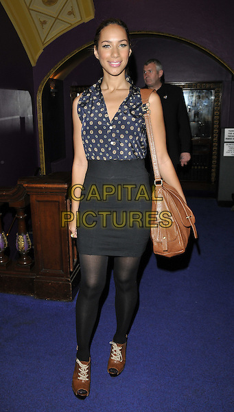 "LEONA LEWIS.""The Sorcerer's Apprentice"" gala screening, Cineworld Cinemas, Haymarket, London, England..August 2nd, 2010.full length black tights skirt blue sleeveless beige polka dot shirt bag purse open toe brogues .CAP/CAN.©Can Nguyen/Capital Pictures."