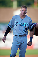 West Michigan Whitecaps center fielder Brock Deatherage (19) during a game against the Kane County Cougars on July 19, 2018 at Northwestern Medicine Field in Geneva, Illinois.  Kane County defeated West Michigan 8-5.  (Mike Janes/Four Seam Images)