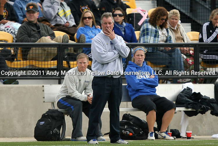 04 December 2011: Duke head coach Robbie Church. The Stanford University Cardinal played the Duke University Blue Devils at KSU Soccer Stadium in Kennesaw, Georgia in the NCAA Division I Women's Soccer College Cup Final.