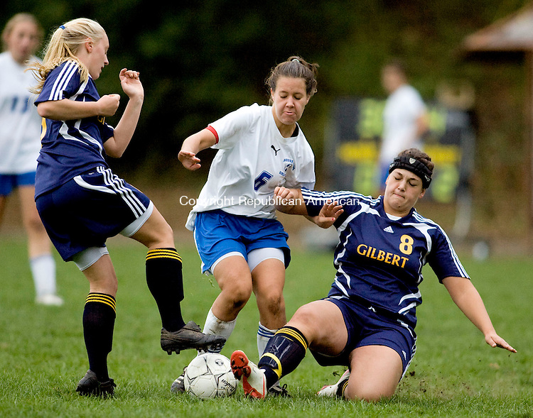 WOODBURY, CT - 12 OCTOBER 2009 -101209JT09-<br /> Gilbert's Lindsey Dzielak, left, Nonnewaug's Kaeley McEvoy and Gilbert's Courtney Cesca race to the ball during Monday's game at Nonnewaug. The teams tied, 3-3.<br /> Josalee Thrift Republican-American