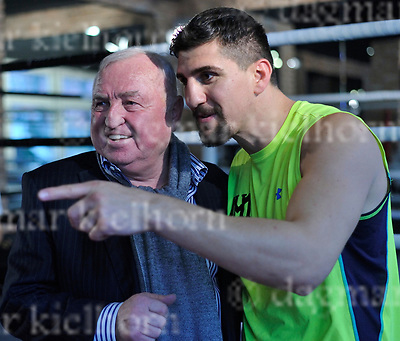 March 16-17,Legends Fight &amp; Box Academy,Berlin,Germany<br /> Media day before the fight of Marco Huck vs Mairis Briedis for regular or interim WBC World cruiserweight title and<br /> International Boxing Organization World cruiserweight title<br /> Marco Huck gets a visit from his former coach Ulli Wegner,l