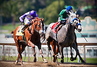 I'll Have Another, with jockey Mario Gutierrez  aboard (left) defeats Creative Cause with Joel Rosario (center) and Blueskiesandrainbows and Joe Talamo (right) to win the 2012 Santa Anita Derby at Santa Anita Park in Arcadia California on April 7, 2012.