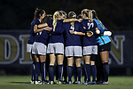 WINSTON-SALEM, NC - NOVEMBER 10: Georgetown's starters huddle before the game. The Wake Forest University Demon Deacons hosted the Georgetown University Hoyas on November 10, 2017 at W. Dennie Spry Soccer Stadium in Winston-Salem, NC in an NCAA Division I Women's Soccer Tournament First Round game. Wake Forest advanced 2-1 on penalty kicks after the game ended in a 0-0 tie after overtime.