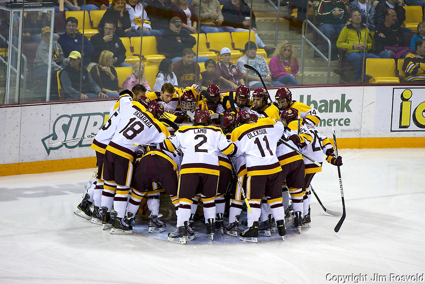 14 Oct 11: Minnesota huddle. The University of Minnesota-Duluth Bulldogs host the University of Minnesota Golden Gophers in a WCHA matchup at Amsoil Arena in Duluth, MN.
