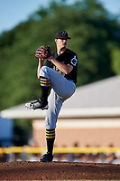 West Virginia Black Bears starting pitcher Aaron Shortridge (37) delivers a pitch during a game against the Batavia Muckdogs on July 3, 2018 at Dwyer Stadium in Batavia, New York.  Batavia defeated West Virginia 5-4.  (Mike Janes/Four Seam Images)