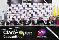 BOGOTA – COLOMBIA, 20-03-2019: David Samudio (Izq.) Presidente de la Federación Colombiana de Tenis, Orlando Merlano (2 Izq.); Director del Instituto Distrital para la Recreación y el Deporte (IDRD); Ignacio Correa (3 Izq.), Presidente de Colsanitas; David Londoño (3 Der.), Director Corporativo de Mercadeo y Comunicaciones de Claro; Ernesto Lucerna (2 Der.), Director Nacional de Coldeportes y Jahn Fontalvo (Der.) de Gran Slam Producciones y Director General del Claro Colsanitas WTA 2019, durante la presentación del Claro Colsanitas WTA 2019 de tenis en el auditorio Adolfo Carvajal, en Coldeportes, torneo que se realizará en las canchas del Carmel Club en la ciudad de Bogotá del 6 al 14 de abril de 2019. / David Samudio (Left) President of the Colombian Tennis Federation, Orlando Merlano (2 L); Director of the District Institute for Recreation and Sports (IDRD); Ignacio Correa (3 Izq.), President of Colsanitas; David Londoño (3 rd.), Corporate Director of Marketing and Communications of Claro; Ernesto Lucerna (2 Der.), National Director of Coldeportes and Jahn Fontalvo (Der.) of Gran Slam Productions and General Director of Claro Colsanitas WTA 2019, during the presentation of the Claro Colsanitas WTA 2019 tennis in the auditorium Adolfo Carvajal, in Coldeportes, tournament to be held in the courts of the Carmel Club in the city of Bogotá from April 6 to 14 de 2019. / Photo: VizzorImage / Luis Ramírez / Staff.