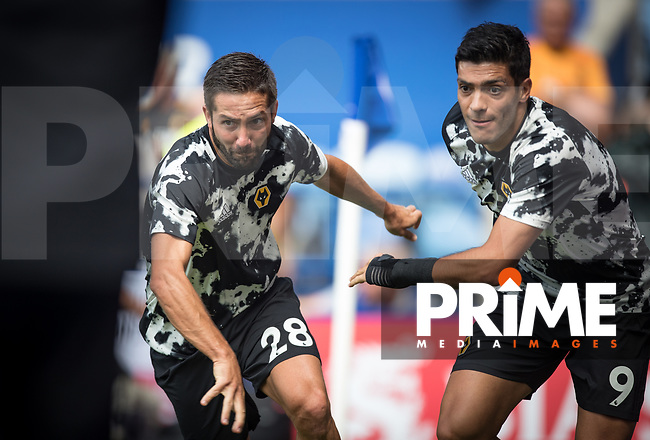 João Moutinho (left) & Raúl Jiménez of Wolves pre match during the Premier League match between Leicester City and Wolverhampton Wanderers at the King Power Stadium, Leicester, England on 10 August 2019. Photo by Andy Rowland.