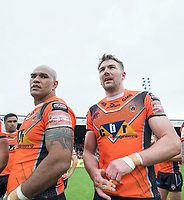 Picture by Allan McKenzie/SWpix.com - 13/05/2017 - Rugby League - Ladbrokes Challenge Cup - Castleford Tigers v St Helens - The Mend A Hose Jungle, Castleford, England - Jake Webster & Michael Shenton post match.