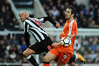 Danny Hylton of Luton Town nudges Jonjo Shelvey of Newcastle United off the ball during Newcastle United vs Luton Town, Emirates FA Cup Football at St. James' Park on 6th January 2018
