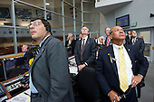 NASA Administrator Charles Bolden, right, Associate Administrator for Space Operations William Gerstenmaier, center, Associate Administrator Christopher Scolese, left, and other management look on from Firing Room Four of the Launch Control Center (LCC) as space shuttle Atlantis launches from pad 39A on Friday, July 8, 2011, in Cape Canaveral, Florida. The launch of Atlantis, STS-135, is the final flight of the shuttle program, a 12-day mission to the International Space Station.  .Mandatory Credit: Bill Ingalls / NASA via CNP