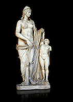 2nd century Roman statue of Venus known as the Venere Felice, inspired by the Hellenistic stsue of Aphrodite of Cnidus made by Greek sculptor Praixiteles in the 4th century BC. Possibly a Venus's face is a portrait of Sallustia who dedicated the statue with Helpidus, and the Eros may be a portrait of her young son. inv 129, Vatican Museum Rome, Italy,  black background