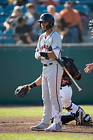 Lancaster JetHawks shortstop Alan Trejo (2) at bat during a California League game against the San Jose Giants at San Jose Municipal Stadium on May 12, 2018 in San Jose, California. Lancaster defeated San Jose 7-6. (Zachary Lucy/Four Seam Images)