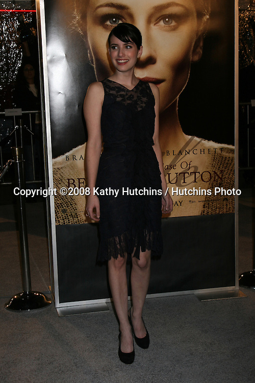 """Emma Roberts arriving at the LA  Premiere of """"The Curious Case of Benjamin Button"""" at the Mann's Village Theater in Westwood, CA .December 8, 2008.©2008 Kathy Hutchins / Hutchins Photo....                ."""